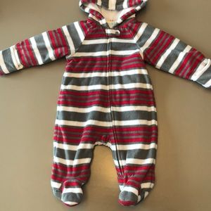 Red and Gray Striped Baby Bunting